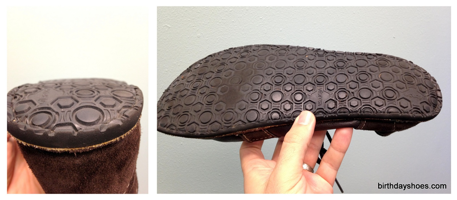 The sole holds up well to walking (left), but daily push scooter rides have worn down the forefoot (right).