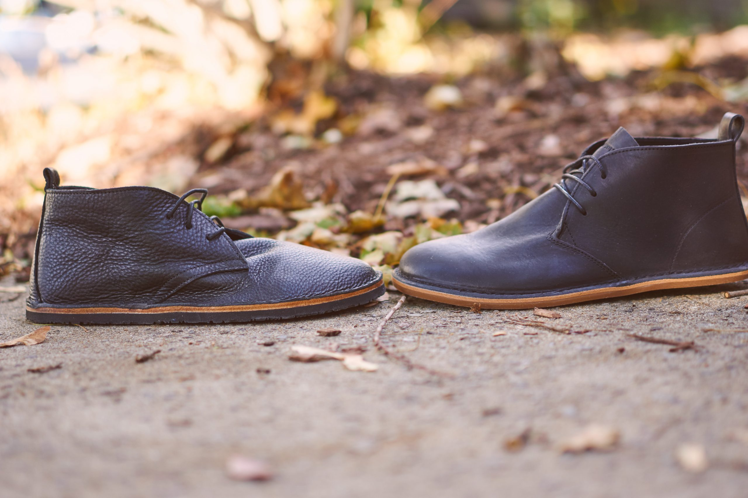 The Hawthorne and its leather midsole/Vibram Geo sole compared to the stiffer Porto sole from Vivobarefoot