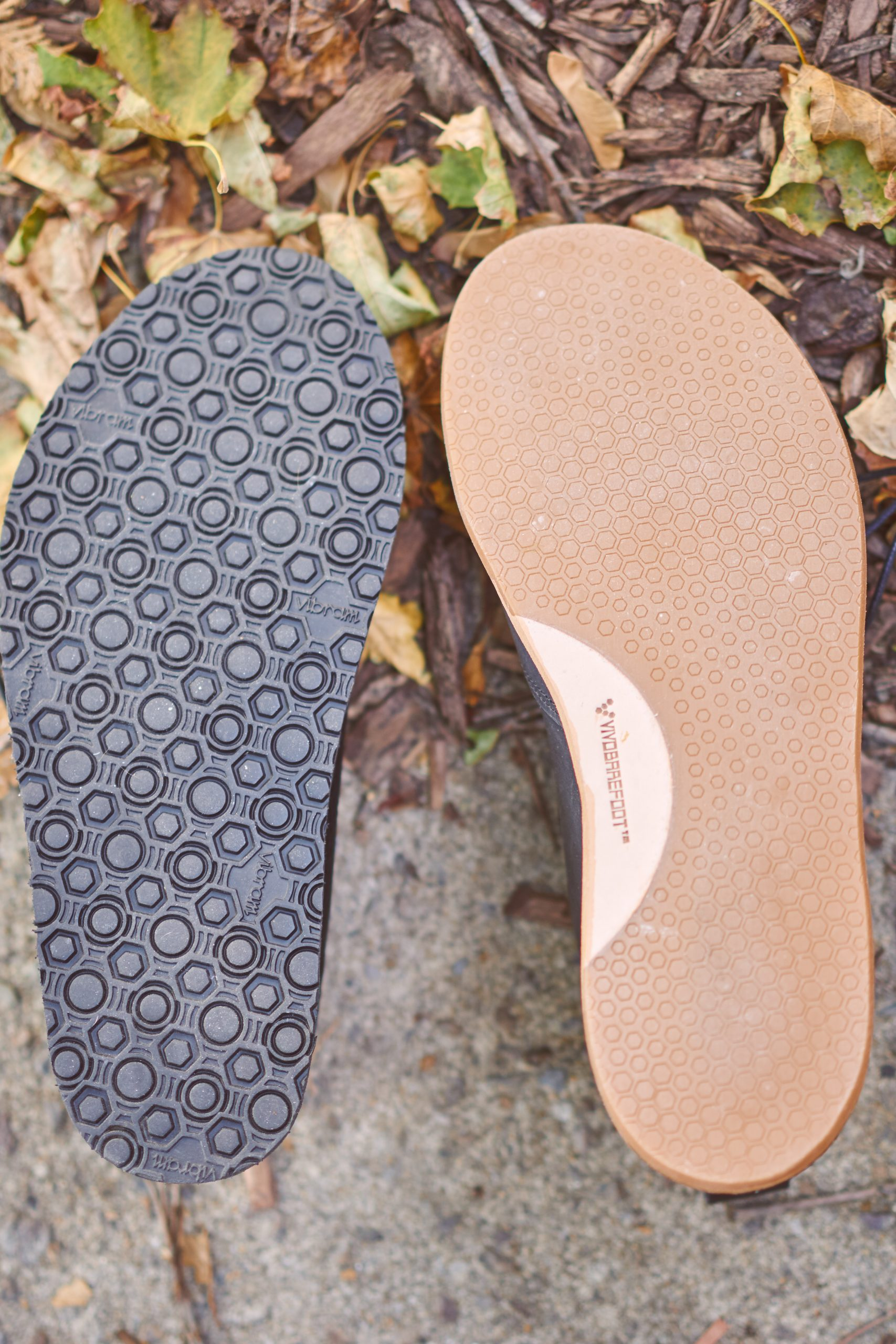 "The Hawthorne's Vibram Geo sole (8mm vs the Vivobarefoot ""handcut"" sole (4mm)"