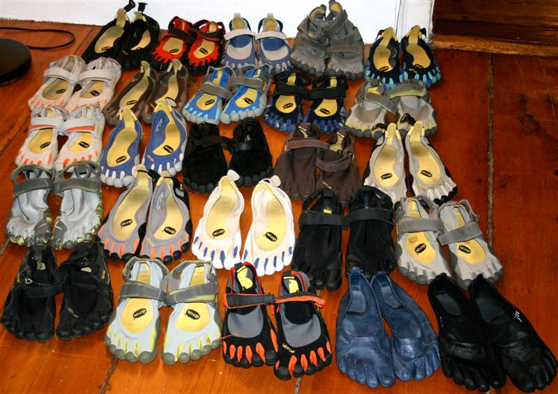 A huge collection of Vibram Five Fingers — 25 pairs in total, covering virtually every model ever produced.