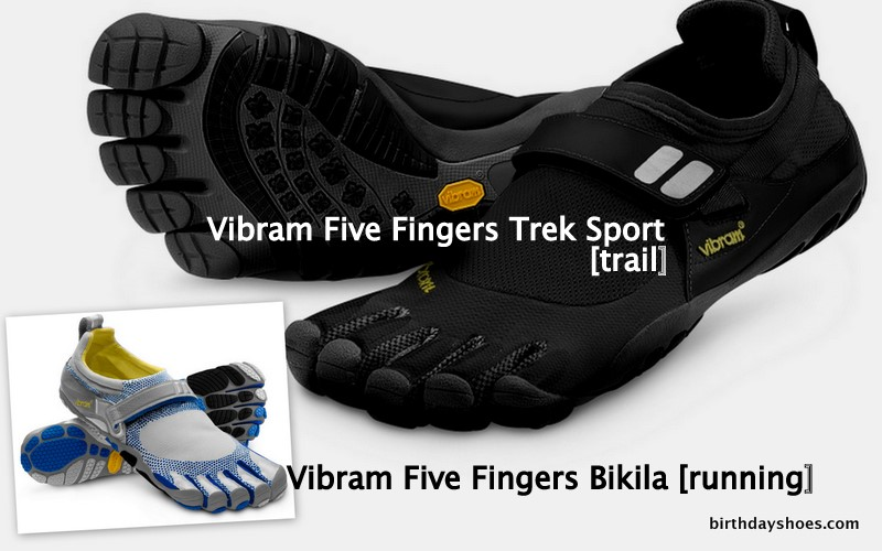 The Black and Charcoal Vibram Five Fingers Trek Sport, the non-leather cousin of the KSO Trek, and the Vibram Five Fingers Bikila in a nice royal blue and silver/grey.