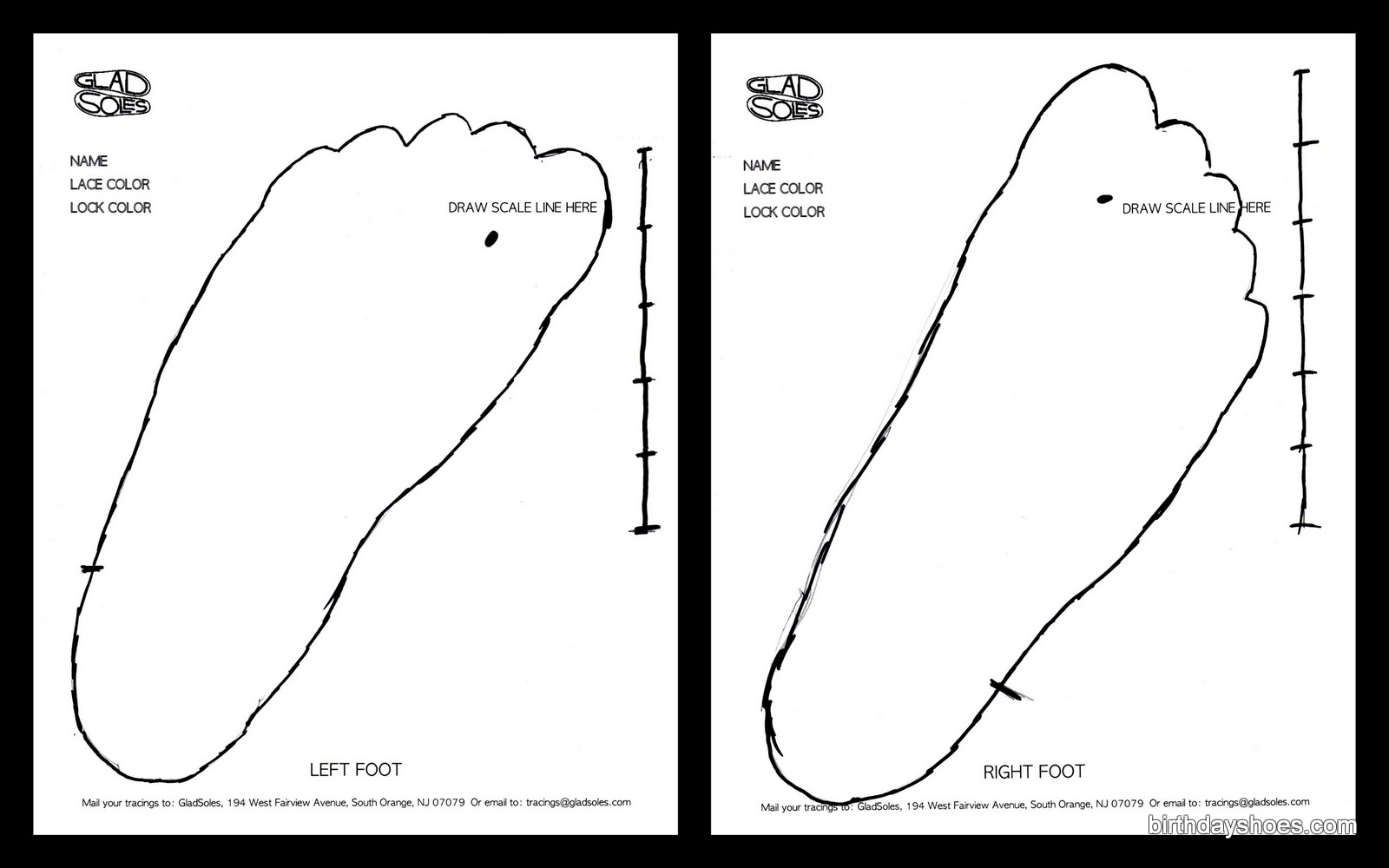 My foot tracings for the custom-made Gladsoles