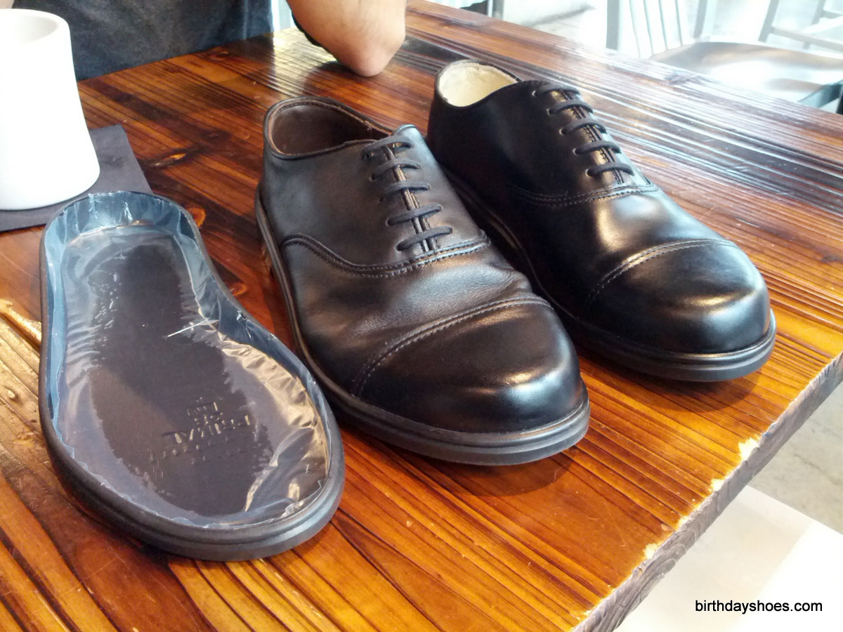The above photo shows a prototype sole of the Primal Professional, the current (though soon to be outdated) iteration of the PriPros, and the original pre-production model.  Note the first iteration didn't utilize full-grain cowhide (as the existing iteration does; note the leather difference in the middle, full-grain pair, vs. the right pair).