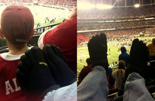 "LEFT: ""Here I am wearing my two week old black KSOs right before kickoff of the Southeastern Conference Championship game in Atlanta on Saturday December 5, 2009!"" RIGHT: ""Here's my black KSOs during the awarding of the SEC Championship Trophy to the game winning Alabama Crimson Tide!"""