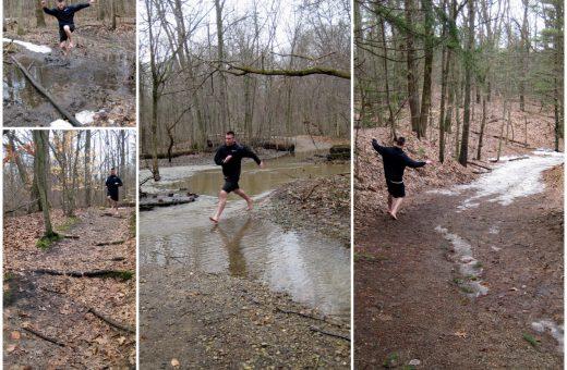 Jason Robillard of Barefoot Running University demonstrates barefoot running on the trails in Michigan.