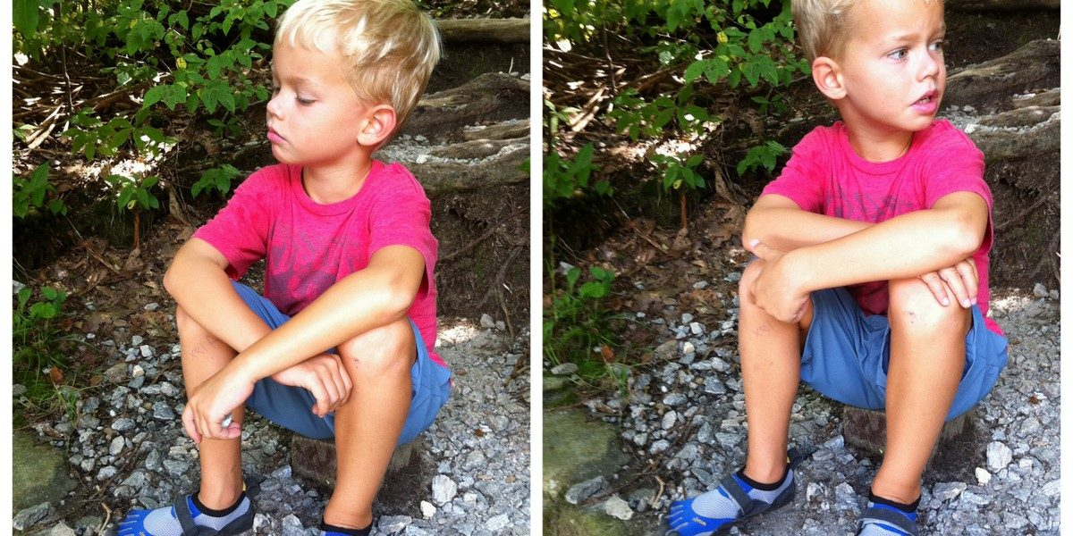 """Alex is sporting the boy's Vibram KSO Kids FiveFingers (in blue).  Alex likes the """"toe massage"""" he gets when wearing his Vibrams."""