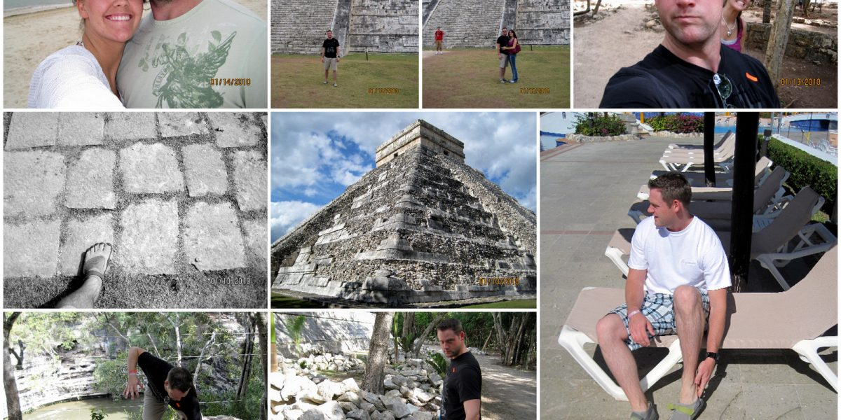 Photoed above we see Levi and Linz who were recently married and seen honeymooning in Cancun, Mexico.  Levi saw the sights while wearing his KSO Vibram Five Fingers, which brought a decent amount of attention from the locals!  Inset we see the Mayan templ