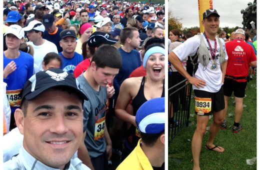 James (bottom left — nevermind the smiling runner photo-bombing him!) before and after running 26.2 miles in his Luna Sandals huaraches in the Marine Corps Marathon.