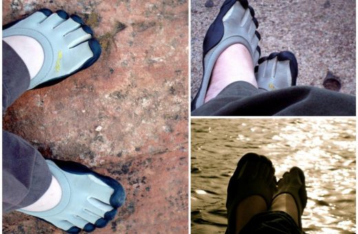 Photo inset: Left Classic Vibram Five Fingers at Colorado Springs, Colorado (August 2009); Top right Classic VFFs at Red Rocks Amphitheater waiting on a show to start (August 2009); Bottom right Classics at Angel Fire, New Mexico (May 2009).