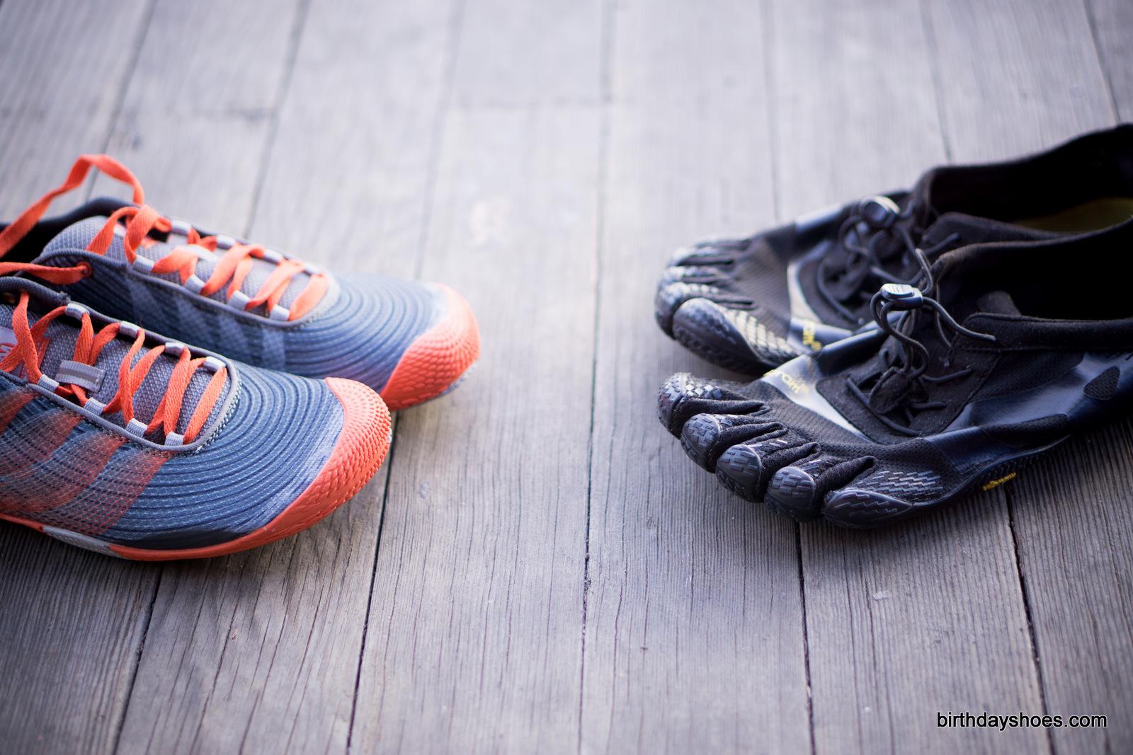 The Merrell Vapor Glove 2 on the left; Vibram FiveFingers KSO EVO on the right.