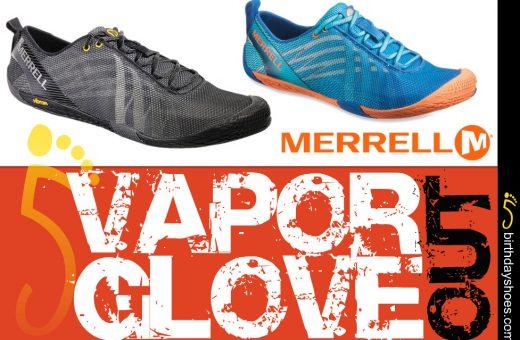 Above photoed — Men's Merrell Vapor Glove in black; Women's Merrell Vapor Glove in Orange/Blue