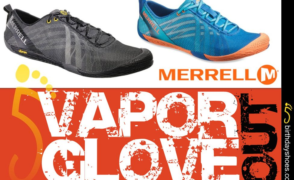 Above photoed — Men's Merrell Vapor Glove in black; Women's Merrell Vapor Glove in Orange/Blue