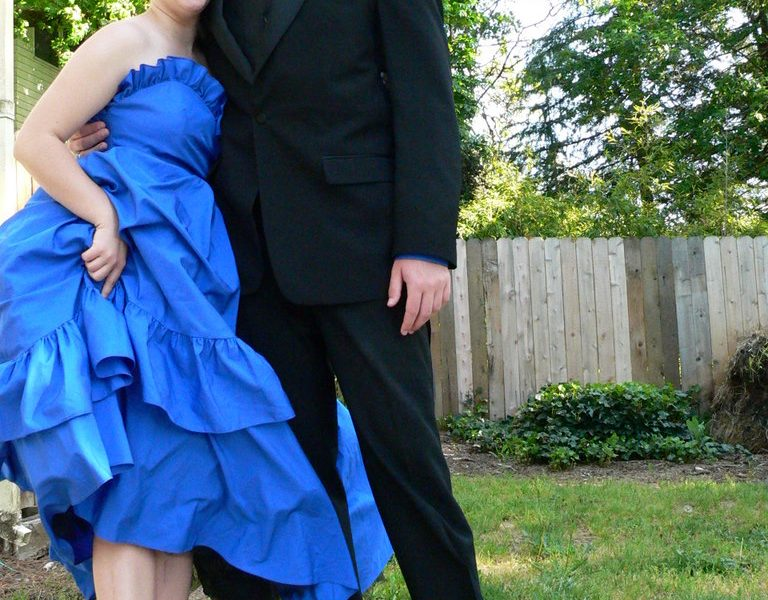Spencer and Jana show off their choice of Senior Prom footwear--toe shoes!