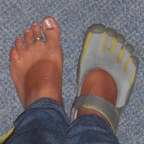 Shivella shows off her FiveFingers Sprint tan lines — an inevitable result of Shivella considering her VFFs her favorite shoes of all time.