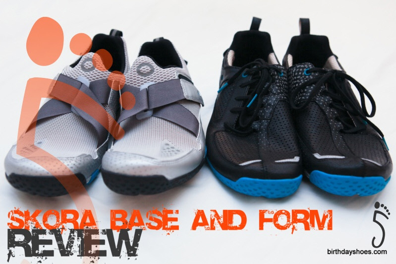 Reviewing the REAL RUNNING shoes from new running shoe company Skora. On the left, the Skora Base; on the right the Skora Form.
