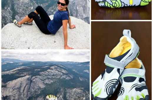 Leah sits atop Yosemite's Half Dome after a 17 mile day hike. She wore Vibram FiveFingers KomodoSports for the trip.