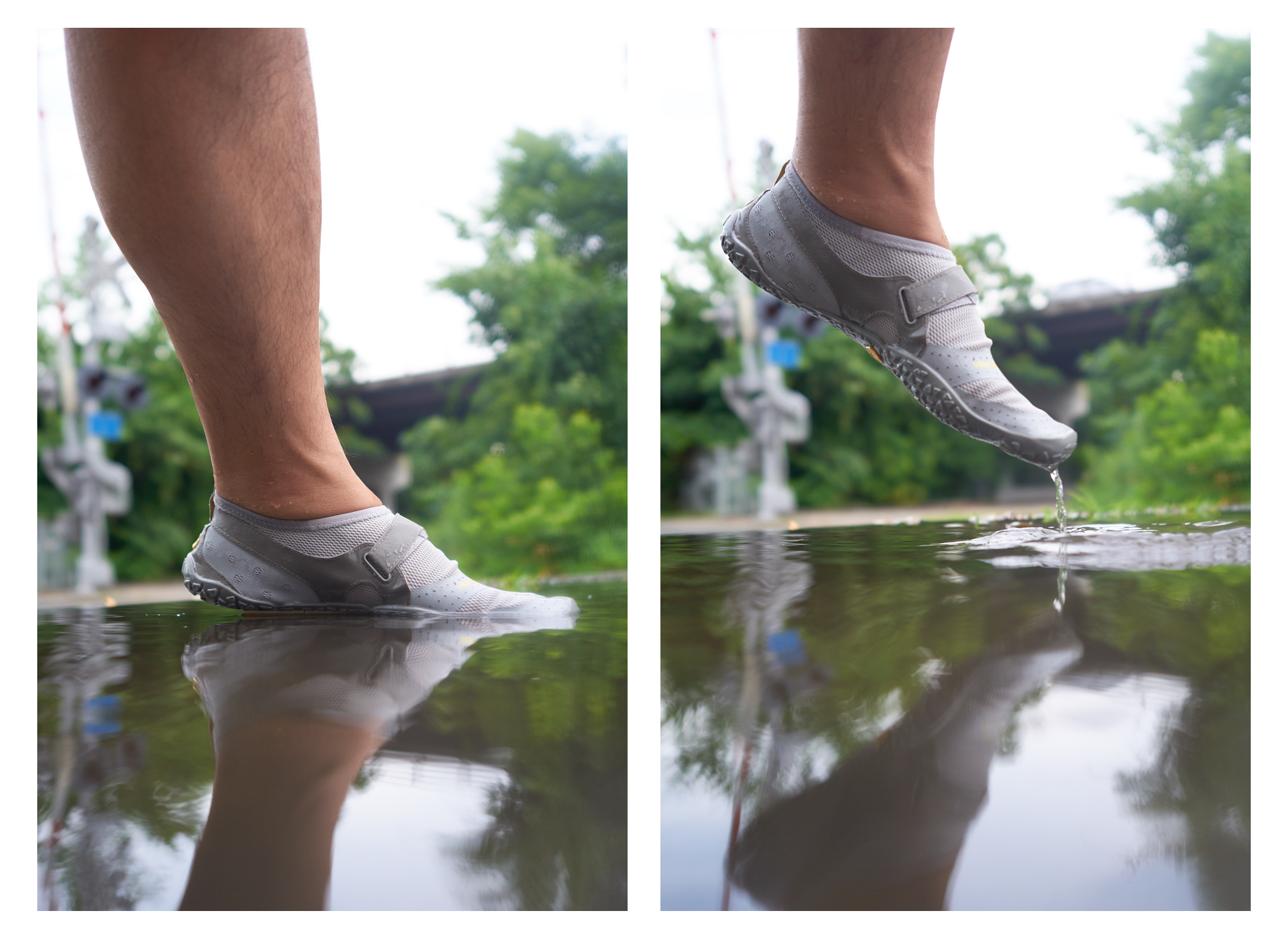 The V-Aqua features drain holes to evacuate water out of your footbed as quickly as possible between submersions