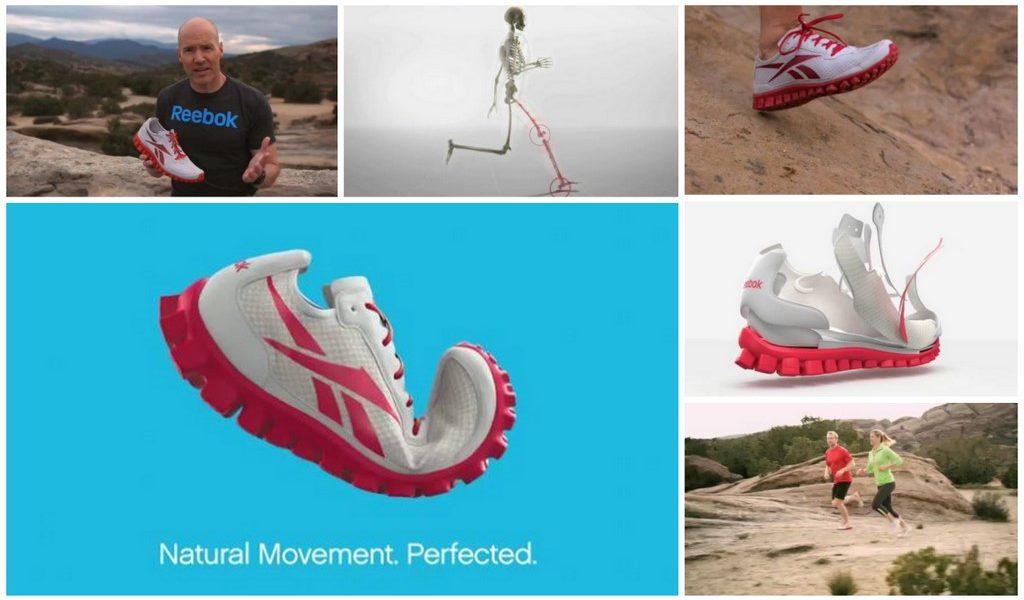 A collage of the Reebok Realflex marketing blast.